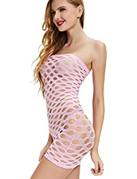 Mesh Stretch Chemise Bodysuits Babydoll Tube Dress Lingerie Mini Dress One Piece Nightwear