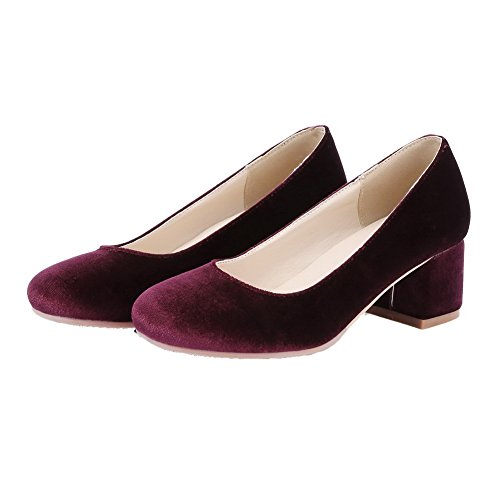 Allhqfashion Dames Geïmiteerd Suede Pull-on Kitten-hakken Stevige Pumps-schoenen Claret
