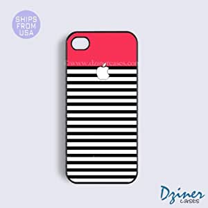 iPhone 4 4s Tough Case - Red Black White Strieps Design iPhone Cover