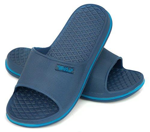 AQUA-SPEED® CORDOBA Beach Slides para Señora (Negro Azul Zapatos de ducha Suela de antideslizante Con Piscina Sea Holiday) + UP®-Etiqueta engomada Farbe 42 / Navy - Blau