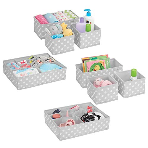 mDesign Soft Fabric Dresser Drawer and Closet Storage Organizer Set for Child/Kids Room, Nursery - Includes Large and Small Organizers - Polka Dot Pattern - Set of 8, Light Gray/White