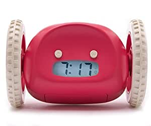 Clocky, the Original Runaway Alarm Clock On Wheels | Fun, Crazy, Extra Loud, Programmable Snooze (Jumps Off Bedside Table and Runs Away To Wake Up Kids, Teens and Adults), Raspberry