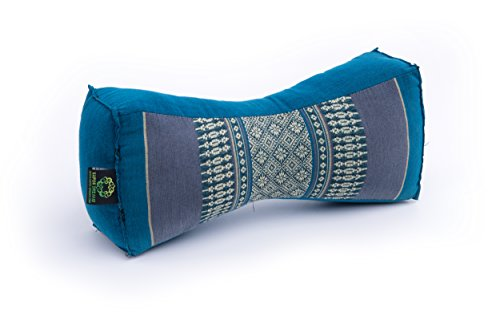 Kapok Dreams Support Pillow, 12''x6''x4'', 100% Natural Kapok Filling, Blue Tones. Firm & Comfortable! by Kapok Dreams