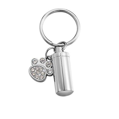 Valyria Memorial Pet/Dog Paw Keychain with Heart Ring Pet Urn Keepsake Charm Ashes Keyring