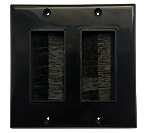 (RiteAV - Dual Gang Wall Plate with Brush Bristles - Black [Now Fits Larger Cables])