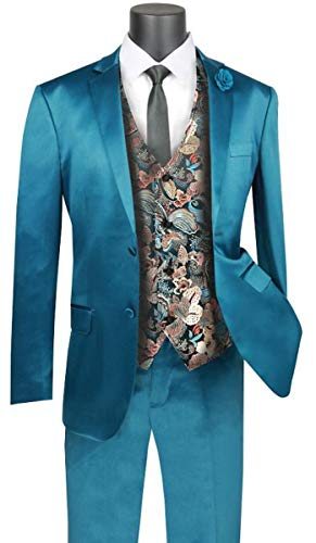 (VINCI 2 Button Single Breasted Slim Fit Stretch Sateen Suit with Fancy Vest SVFF-2-Teal-46R)