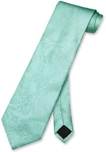 Vesuvio Napoli NeckTie Aqua GREEN Color Paisley Design Men's Neck Tie