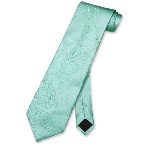 Vesuvio Napoli NeckTie Aqua GREEN Color Paisley Design Men's Neck Tie
