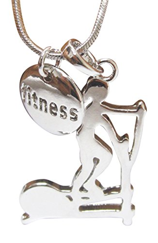 Fitness Running on Treadmill Running Machine Dual Pendant Necklace, 18