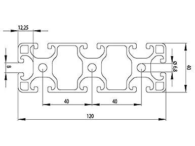 Zuschnitt 50mm-2000mm 39,00 EUR//m + 0,75 EUR pro Schnitt Aluminiumprofil 40x120L I-Typ Nut 8 50mm