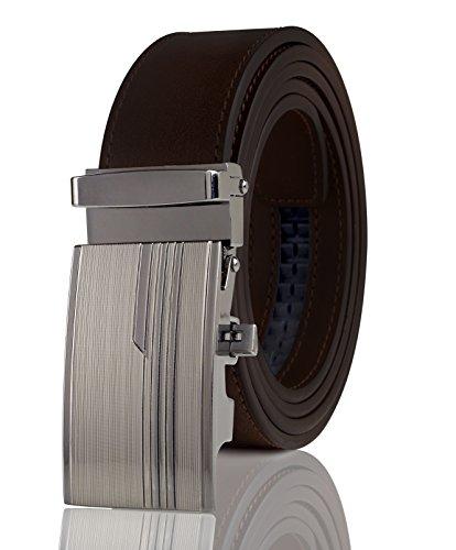 Cremson Men Gift Genuine Leather Metal Automatic Buckle Track Ratchet Dress Belt - Embossed Stripes Automatic Buckle/Brown (Embossed Leather Pants)