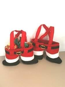 Santa Pants Treat Holder Christmas Totes Gift Bags Includes 6 Bags