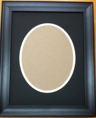 16x20 Black White Double Oval Mats With 16x20 Black Frame For