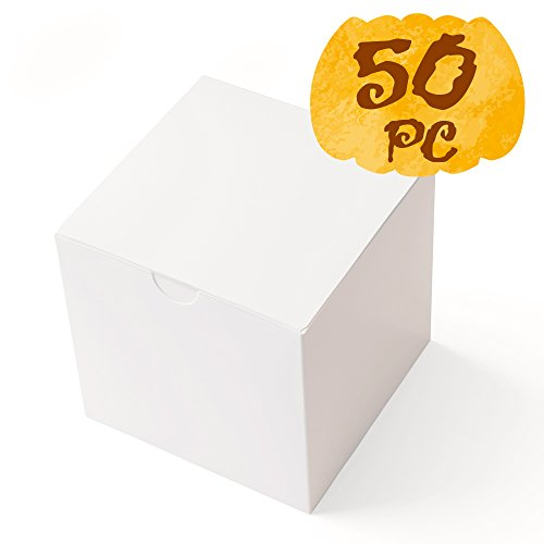 MESHA® Gift Boxes 50 Pack 3 x 3 x 3 Inches, White Paper White Boxes with Lids for Gifts, Crafting, Cupcake Packaging Boxes (Paper Gift Boxes)