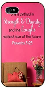 She is clothed in strength and dignity and she laughs without fear of the future - Proverbs 31:25 - Floral and pink - Bible verse iPhone 5 / 5s black plastic case / Christian Verses