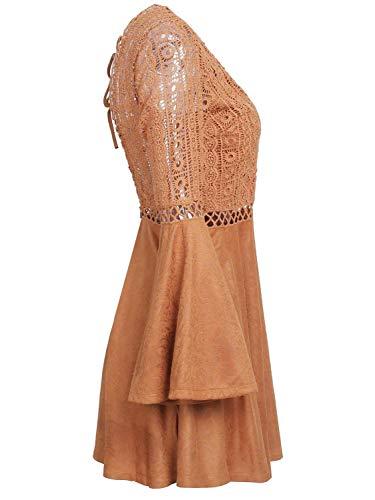 Encaje 10 en V Vestido y tamaño Krere Encaje Espalda Cuello sin 1 Color de con para Brown Sexy Mujer wd8dXYUq