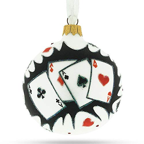 BestPysanky Playing Cards Glass Christmas Ornament 3.25 Inches
