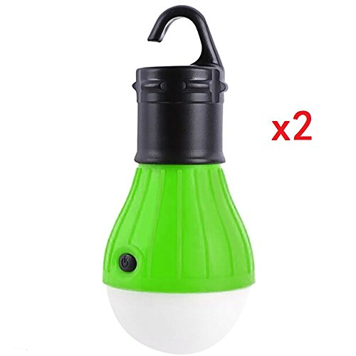 MonstGear 2 Pack Hanging Lantern 3 LED Hook Tent light Bulb for Outdoor Camping Hiking Fishing Portable Battery Powered Emergency Green - Terra Bronze Outdoor Hanging