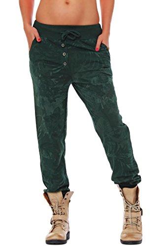 ZARMEXX Sweatpants Sweatpants Sweatpants pantalones de las mujeres Relax Fit Pant impresión de la selva verde oscuro