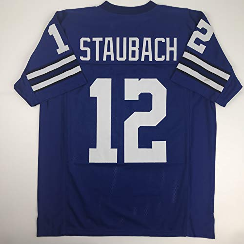 Unsigned Roger Staubach Dallas Blue Custom Stitched Football Jersey Size Men's XL New No ()