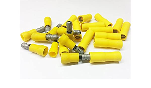 50x Yellow Bullet Set Crimp Terminal Insulated Connector Electrical Audio Wiring
