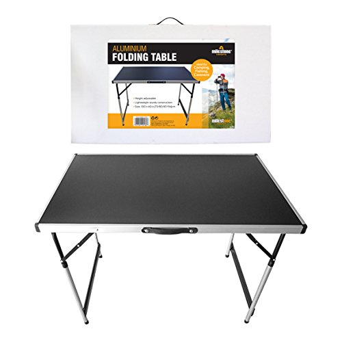 Milestone Camping Men's 20180 Folding Camping Table 4 Adjustable Heights Portable and Lightweight, Aluminium, Black, H73/80/87 94 x W100 X D60cm