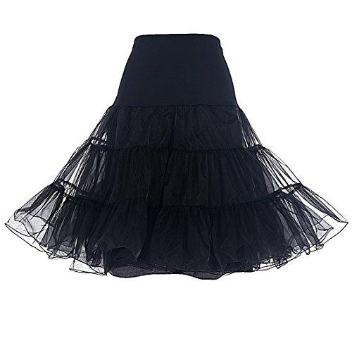 Dresstells 1950 Petticoat Reifrock Unterrock Petticoat Underskirt Crinoline für Rockabilly Kleid Black M
