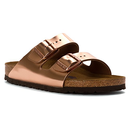 Birkenstock Unisex Arizona Metallic Copper Leather Sandals - 10-10.5 B(M) US Women/8-8.5 D(M) US - Copper Leather Metallic