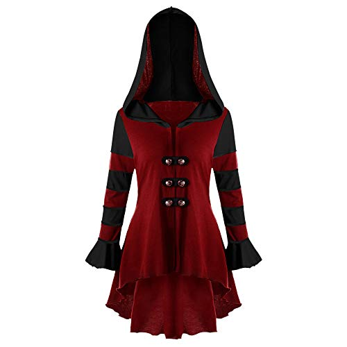TOPUNDER Fashion High Low Hooded Long Sleeve Corset Double Breasted Coat Blouse - Kids Scrubs University