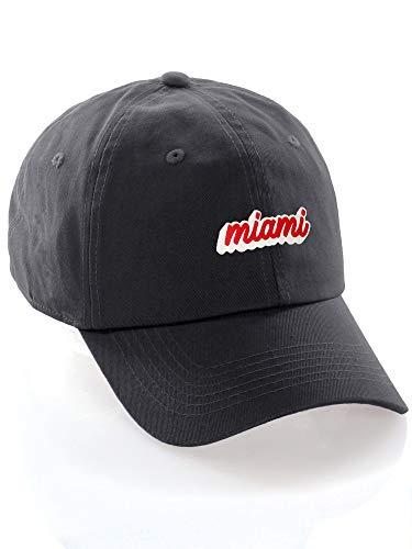 Classic Unstructured USA Cities Baseball Dad Hat 3D Raised PVC Letters Cap, Miami Charcoal, White Red