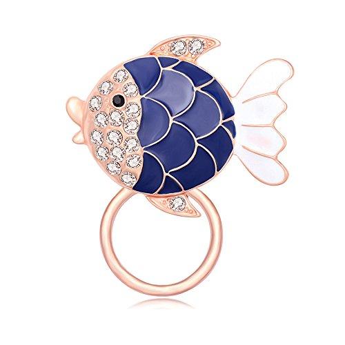 Rhinestone Fish Pin (SENFAI Cute Round Fish Brooch, Blue Enamel Rhinestone Multi-function Magnet Eyeglass Holder (rose gold))