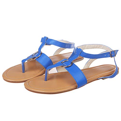 FarJing Women's Summer Metal Buckle Flat Flip Flops Slippers Beach Sandals Roman ()