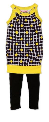 (57319NTNK) No Kidding Girls Geo Daisey Print Jewel Neck Trapeze Tunic w/ Neon Trim and Legging (Sizes 2T-6X) in Yellow, 3T