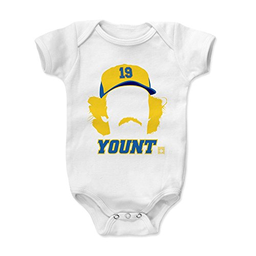 500 LEVEL Robin Yount Baby Clothes, Onesie, Creeper, Bodysuit 3-6 Months White - Vintage Milwaukee Baseball Baby Clothes - Robin Yount Silhouette B (Baseball Milwaukee Brewers White)