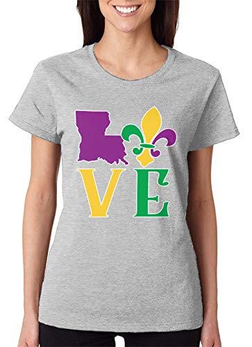 SpiritForged Apparel Love Louisiana Women's T-Shirt, Light Gray Large
