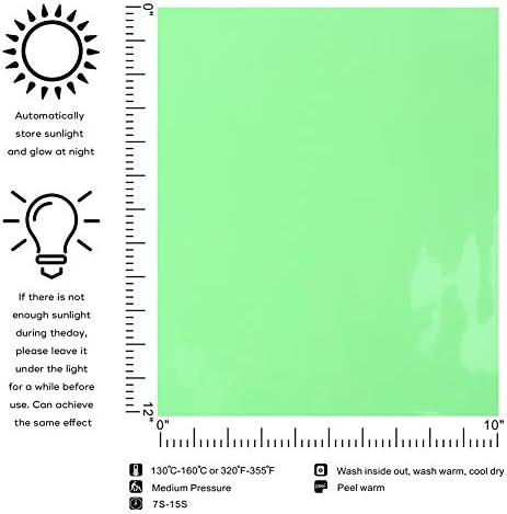 Vinilo de transferencia de calor que brilla en la oscuridad, 5 unidades de 12 x 10 pulgadas de vinilo para planchar, para camisetas, HTV de neón de fácil corte (luminoso): Amazon.es: Hogar