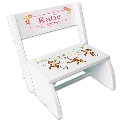 Personalized Monkey Girl White Wooden Folding Stool and Seat by MyBambino