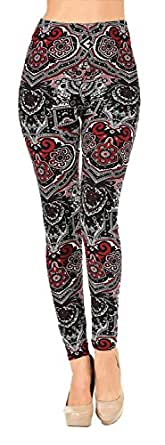VIV Collection PLUS Size Printed Brushed Leggings (Ancient Shields)