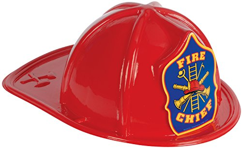 Loftus International Fire Chief Fireman Firefighter Costume Hat, Red, One Size