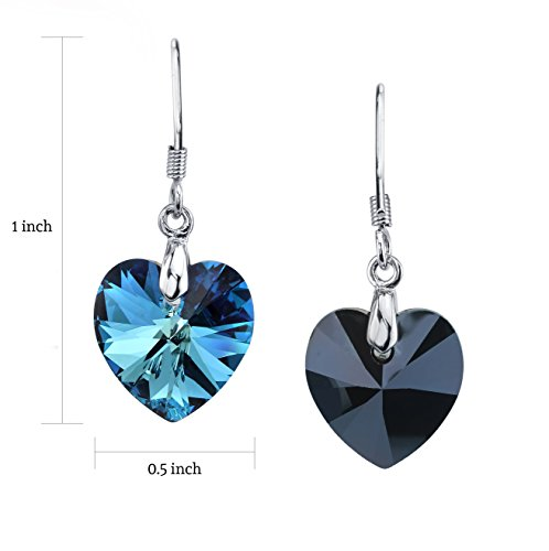 LUVAMI Swarovski Crystal Blue Heart White Gold Plated Drop Dangle French Hook Earrings by LUVAMI (Image #1)