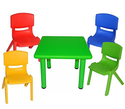 5 tlg. Set: Sitzgruppe - Tisch + 4 Kinderstühle - BUNT - stapelbar / kippsicher / bis 100 kg belastbar - für INNEN & AUßEN - Plastik / Kunststoff - Stuhl Stühle / Kinderzimmer / Kindertisch - Kinder - Gartenmöbel Kindertischgruppe - Tischgruppe / Kindermöbel für Mädchen & Jungen
