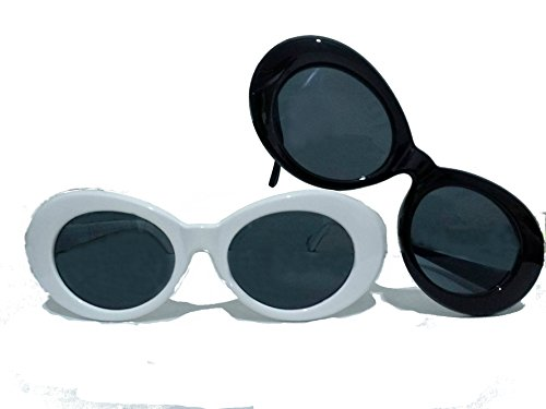 3850482ce4 Bold Clout Goggles - 2 Pairs of UV400 for Eye Protection White   Black  Frame Kurt Cobain Inspired Retro Mod Style Oval Sunglasses w  Dark Lenses  for Men ...