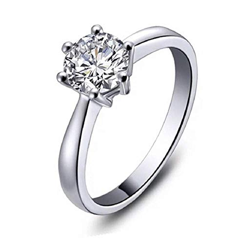 Finemall 1.0 Carat Classical Stainless Steel Solitaire Engagement Ring Round Brilliant Cubic Zirconia CZ 18k White Gold Wedding Engagement Ring (Size 7)