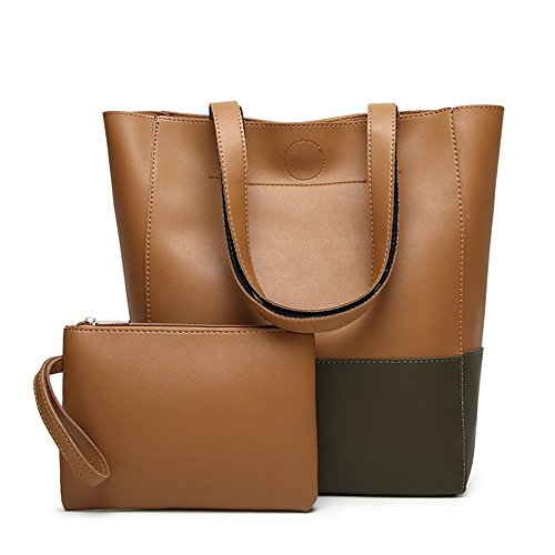 Large Colour Asdflina Leather Grey brown Capacity Everyday Tote Bag Pattern Litchi Pu Suitable Bucket Large Use blocked capacity For gwXqdYwx
