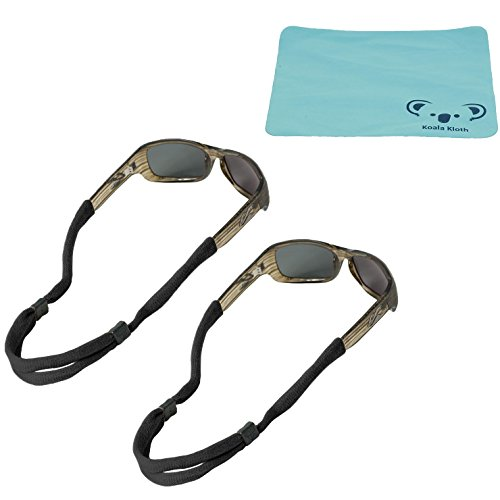 Chums No Tail Cotton Eyewear Retainer Sunglass Strap | Adjustable Eyeglass & Sports Glasses Holder Keeper Lanyard | 2pk Bundle + Cloth, Black