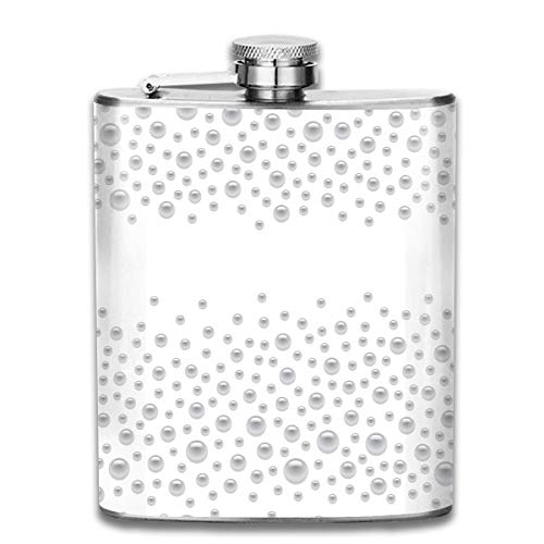 TPSXXY Scattered Silver Pearls Isolated Stainless Steel 7 Oz Hip Flask Men Women Silver Alcohol Whiskey Liquor