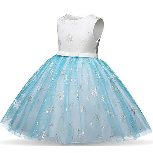 Girl Ice Flower Printed Cotton Elegant Tulle Bow Belt Princess Birthday Wedding Party Dress 2-8 Years by ZerYoYus (Image #1)