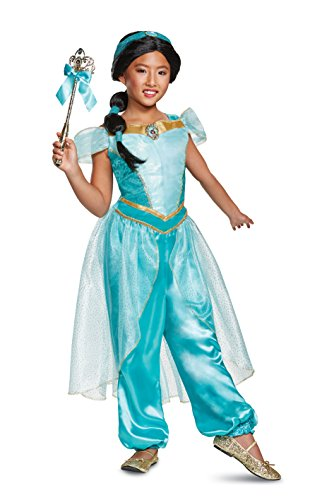 Disguise Jasmine Deluxe Child Costume, Teal, (Child's Princess Jasmine Costume)