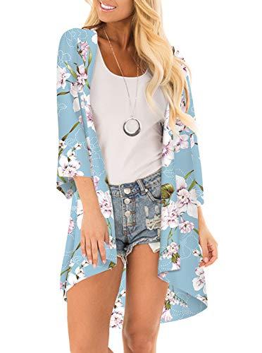 Women Floral Print Kimono Cover Up Sheer Chiffon Blouse Loose Long Cardigan Sky Blue X-Large