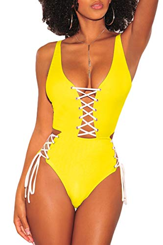 e V Neck Brazilian High Cut Thong Monokini Swimsuit,Yellow L ()